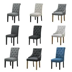 2/4/6 Dining Chairs Tufted High Back Fabric Padded Dining Ro