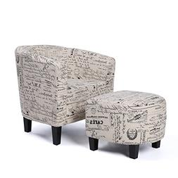 Accent Chair with Curved Back & French Print w/ Ottoman Mode