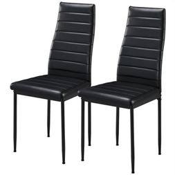 Dining Chairs High Back Faux Leather Modern Chair Metal Seat