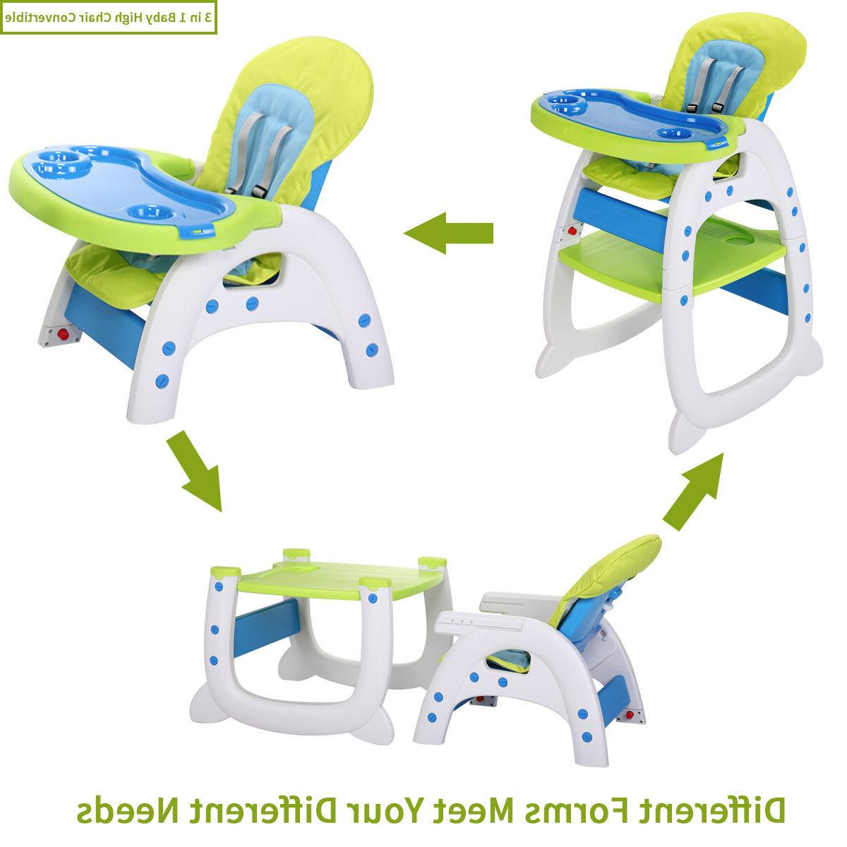 Baby High Chair 3 Convertible Play Seat w/Tray 3Color