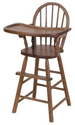 BOW BACK HIGH CHAIR - Solid Oak Child Booster Seat & Tray -
