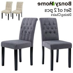 Set of 2 pcs Dining Room Chairs High Back Padded Modern Kitc