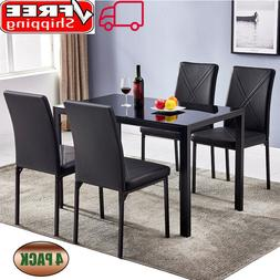 Set of 4 Dining Chairs Faux Leather Kitchen Chairs Square Hi